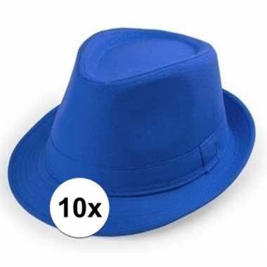 10x goedkope blauwe verkleed hoedjes voor volwassenen