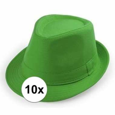 10x goedkope groene verkleed hoedjes voor volwassenen