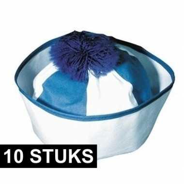 10x matroos hoedje blauw