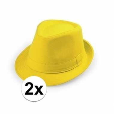 2x goedkope gele verkleed hoedjes voor volwassenen