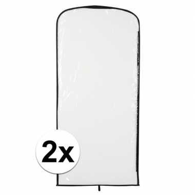 2x kostuum opberghoes transparant 95 x 42 cm