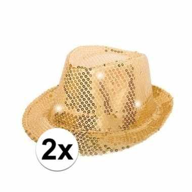 2x pailletten trilby hoeden goud led light