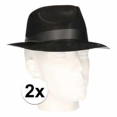 2x polyester zwart gleufhoedjes voor volwassenen