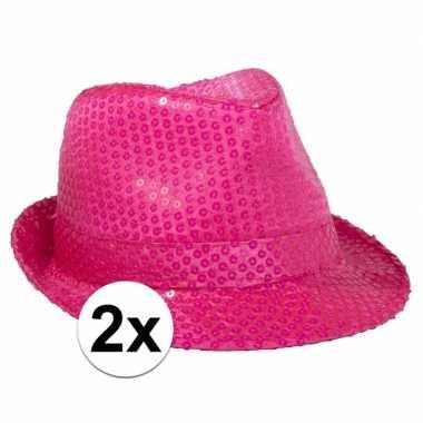2x voordelige neon roze trilby hoed met pailletten