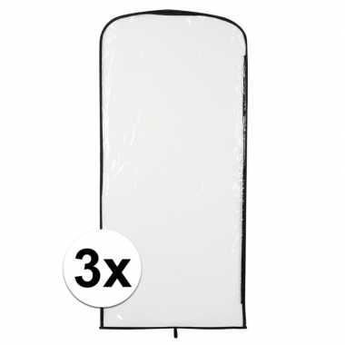 3x kostuum opberghoes transparant 95 x 42 cm