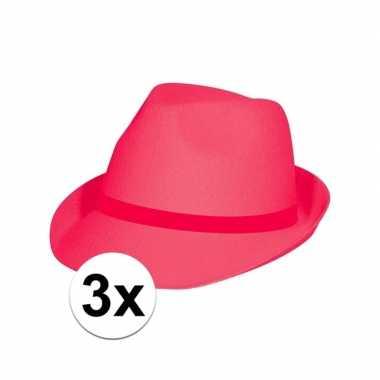 3x voordelige roze/pink party hoedjes