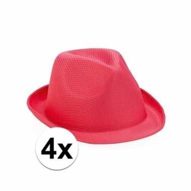 4x roze trilby hoedjes voor volwassenen