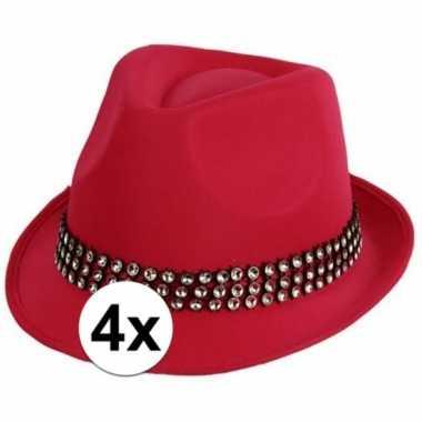 4x voordelige roze hoed met zilveren steentjes
