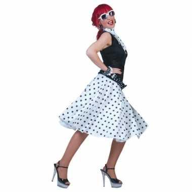 50's rok wit met zwarte stippen