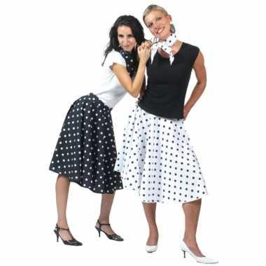 50's rok zwart met witte stippen