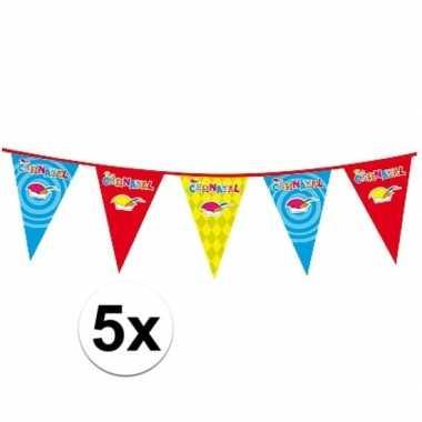 5x 10 meter lange carnaval vlaggenlijn