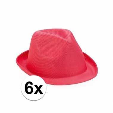 6x roze trilby hoedjes voor volwassenen