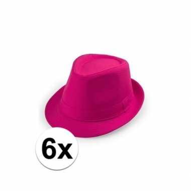 6x voordelige roze trilby hoedjes