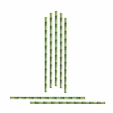 96x eco rietjes met bamboe bedrukking