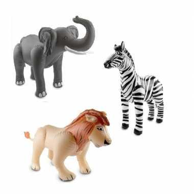 Afrika thema set olifant leeuw en zebra opblaas baar