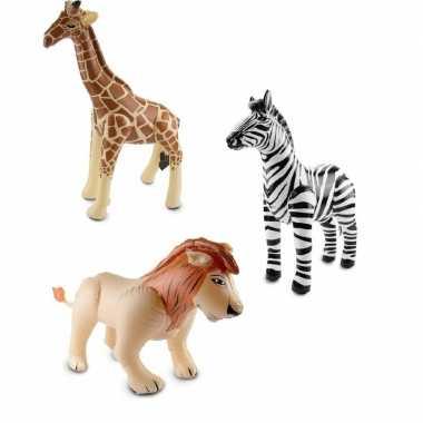 Afrika thema set zebra leeuw en giraffe opblaas baar