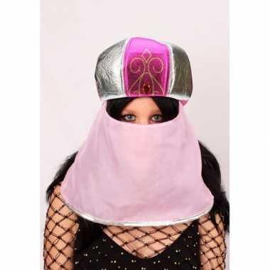 Arabische muts roze met sluier voor dames