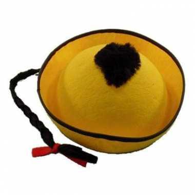 Aziatische hoedjes geel voor kinderen