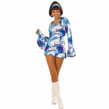 Blauw gekleurde dames jurk jaren 60
