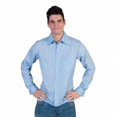 Blauw met wit overhemd met ruitjes