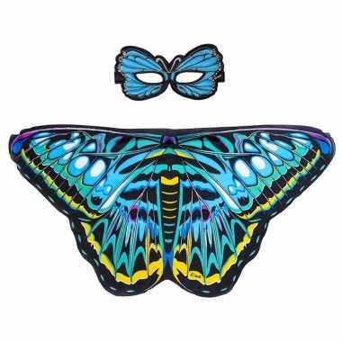 Blauwe aurelia vlinder verkleedset voor meisjes
