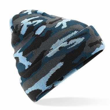 Blauwe camouflage gebreide wintermuts voor volwassenen