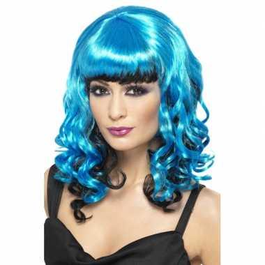 Blauwe dames pruik met krullen