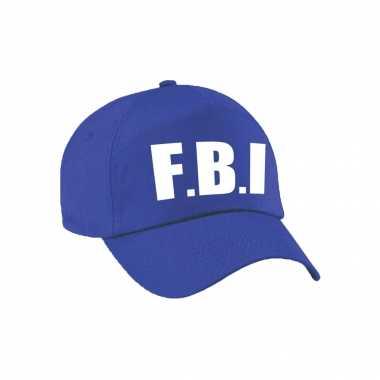 Blauwe fbi politie agent verkleed pet / cap voor volwassenen