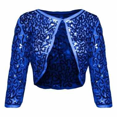 Blauwe glitter pailletten disco bolero jasje dames