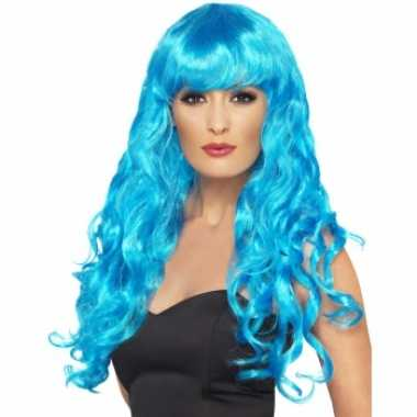 Blauwe krullenpruik dames