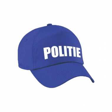 Blauwe politie agent verkleed pet / cap voor kinderen