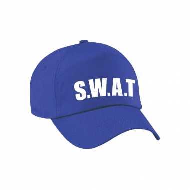 Blauwe swat team politie verkleed pet / cap voor volwassenen