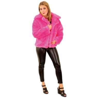 Bontjas neon roze voor dames