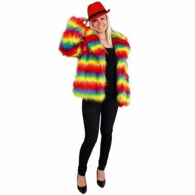 Bontjas regenboog print voor dames