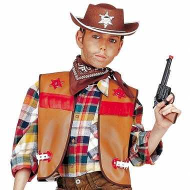 Bruin cowboy vestje voor kinderen
