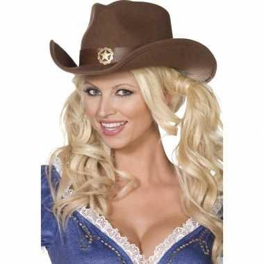 Bruine cowboy hoed voor volwassenen