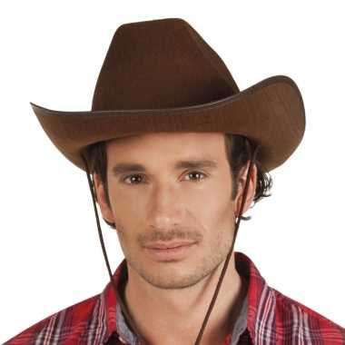 Bruine cowboyhoed rodeo vilt voor volwassenen