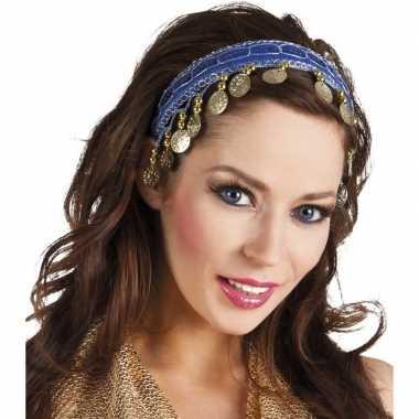 Buikdanseres hoofdband/diadeem kobalt blauw dames verkleedaccess