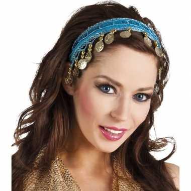 Buikdanseres hoofdband/diadeem turquoise blauw dames verkleedacc