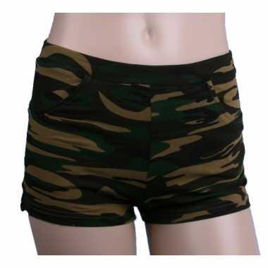 Camouflage print hotpants voor dames