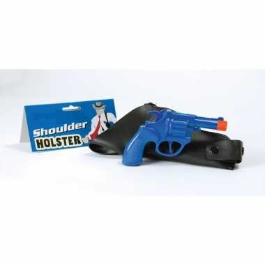 Carnaval accessoires pistool blauw 22 cm 10106330