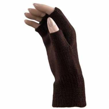 Carnaval donker bruine polsjes/handschoenen vingerloos voor volwassen