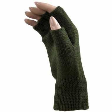 Carnaval donker groene polsjes/handschoenen vingerloos voor volwassen