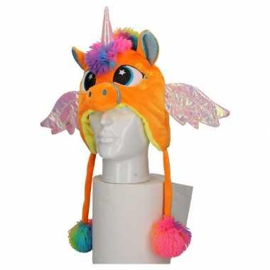 Carnaval eenhoorn muts kids oranje