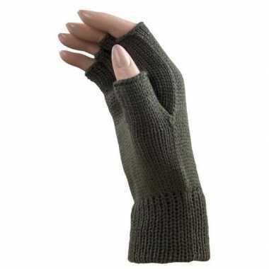 Carnaval leger groene polsjes/handschoenen vingerloos voor volwassene