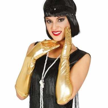 Carnaval metallic gouden gala handschoenen