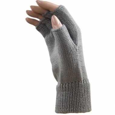 Carnaval polsjes/handschoenen licht grijs vingerloos voor volwassenen