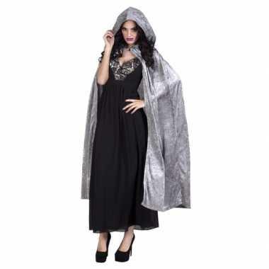 Carnaval verkleed cape grijs met capuchon