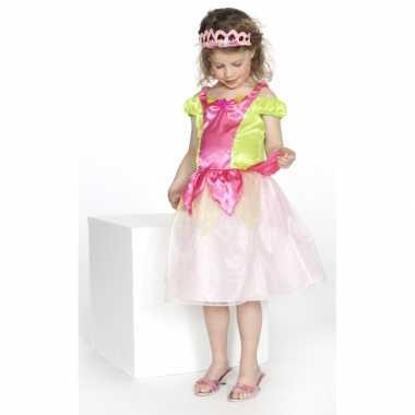 Carnaval verkleedkleding prinses roze/groen meisjes