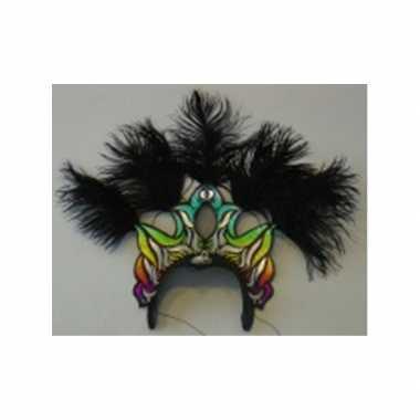 Carnavals hoofdtooi met zwarte veren